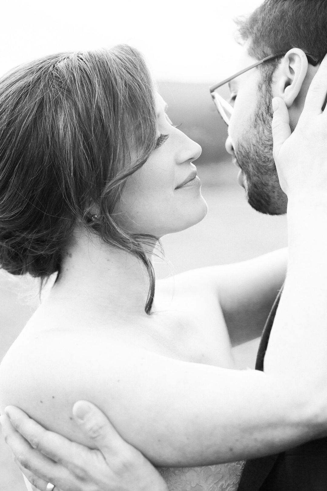 Up close picture of couple in B & W.