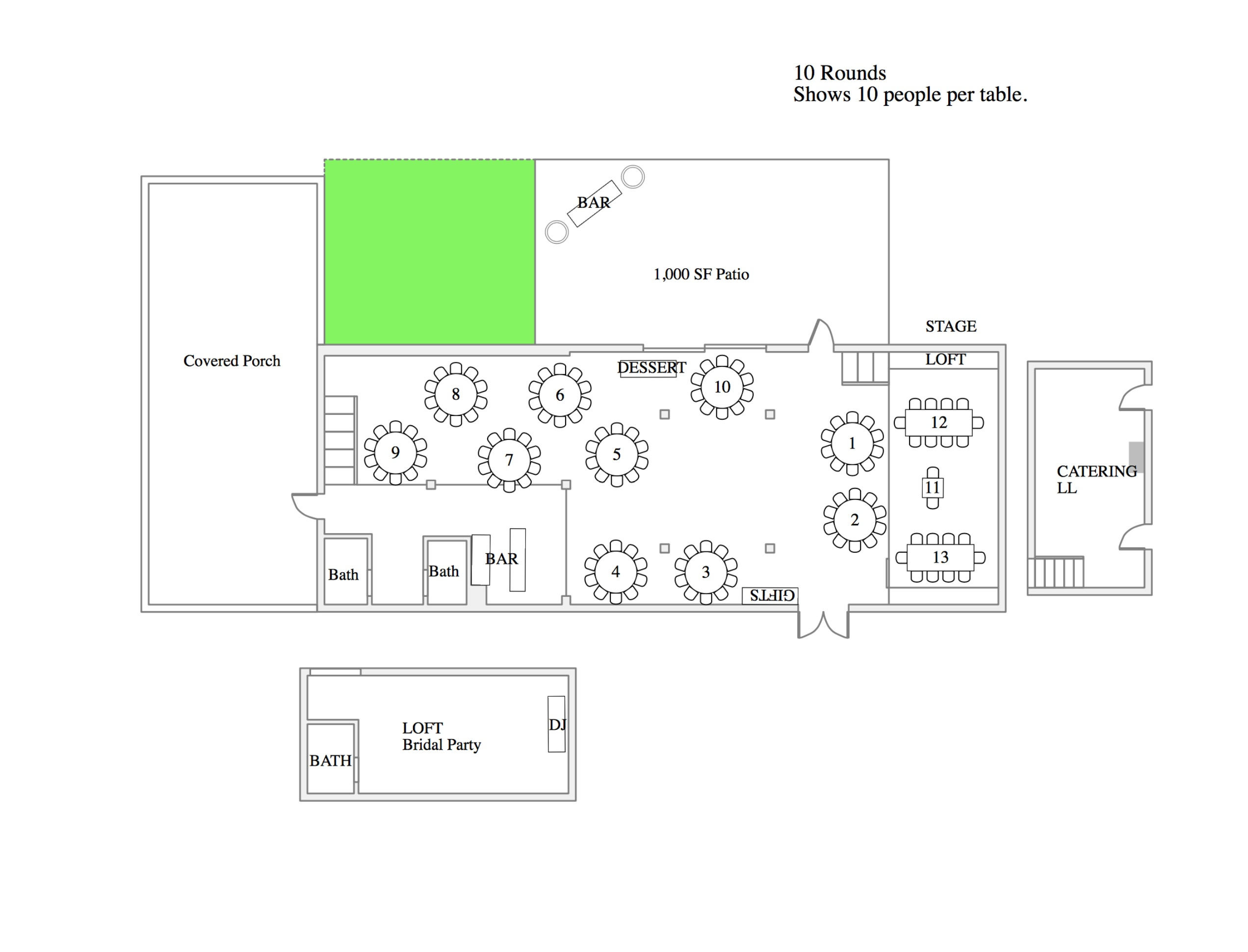 Floor plan of the barn shows seating capacity