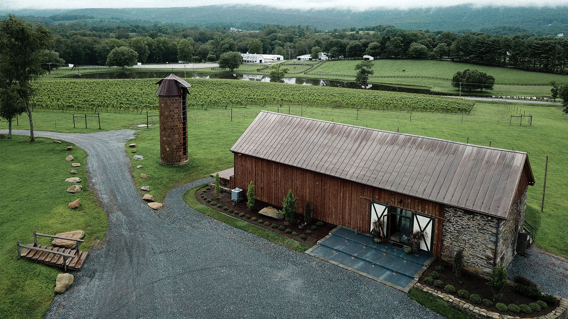 arial view of barn and farm